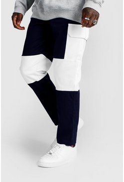 Navy Colour Block Cargo Trouser