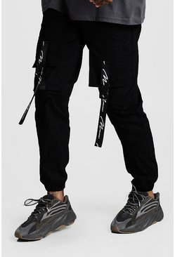 Black MAN Branded Strap Cargo Pocket Trousers
