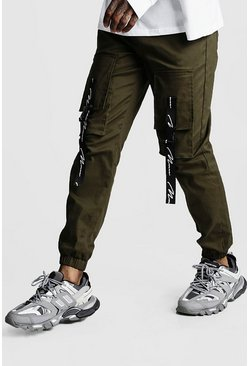 Mens Khaki MAN Branded Strap Cargo Pocket Trousers