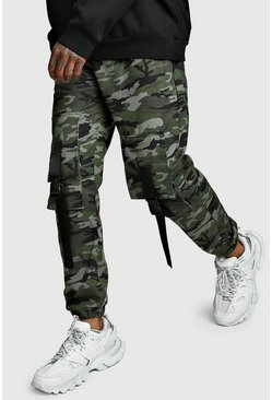 Mens Camo Front Cargo Pocket Buckle Trouser