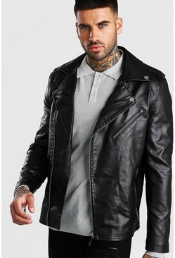Black Faux Leather Biker Jacket With Shoulder Detail