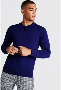 Mens Navy Muscle Fit Fine Knit Polo With Long Sleeves