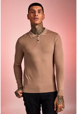 Herr Taupe Muscle Fit Fine Knit Polo With Long Sleeves
