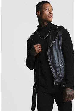 Mens Black Faux Leather Sleeveless Biker Jacket