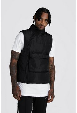 Mens Black Funnel Neck Padded Gilet With Centre Pocket