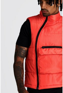 Mens Orange Funnel Neck Padded Gilet With Centre Pocket