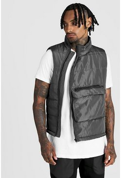 Mens Charcoal Funnel Neck Padded Gilet With Centre Pocket