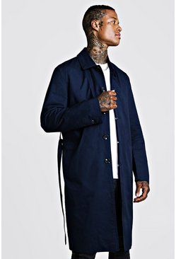 Mens Navy Check Lined Mac