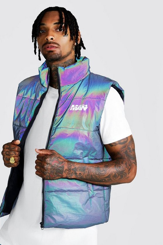 Iridescent MAN Rainbow Reflective Sleeveless Puffer