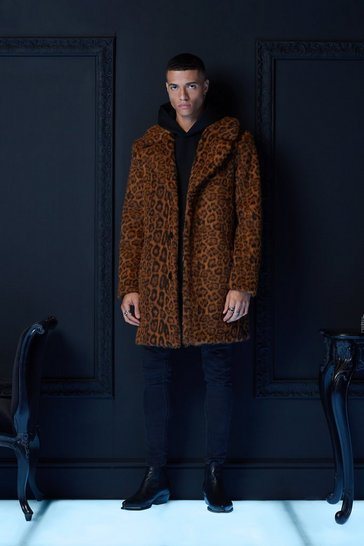 Brown Premium Faux Fur Leopard Overcoat
