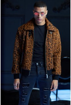 Brown Premium Faux Fur Leopard Collared Bomber