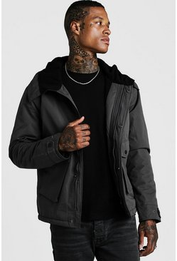 Mens Charcoal Fleece Lined Parka With Oversized Pockets