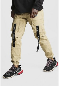 Herr Stone MAN Branded Strap Cargo Pocket Trouser