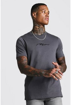 Charcoal MAN Signature Embroidered T-Shirt