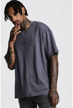 Mens Charcoal Oversized Original MAN Print T-Shirt