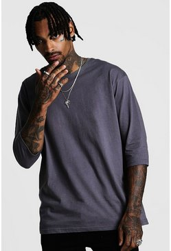 Mens Charcoal 3/4 Sleeve Loose Fit T-Shirt