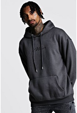 Mens Charcoal Oversized Man Signature Hoodie