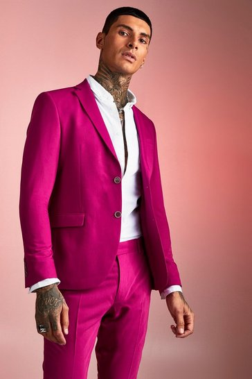 Purple Plain Skinny Fit SUit Jacket