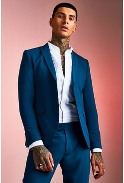 Teal Skinny Fit Plain Suit Jacket