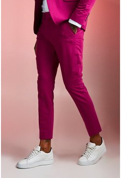 Mens Purple Plain Skinny Fit Suit Trouser