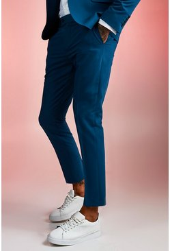 Teal Skinny Fit Plain Suit Pants