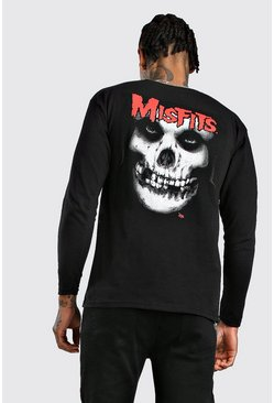 Herr Black Long Sleeve Misfits License Print T-Shirt