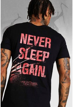 Herr Black Halloween Nightmare On Elm Street Back Print T-Shirt