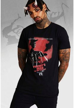 Herr Black Nightmare On Elm Street Freddie License T-Shirt