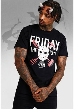 Herr Black Halloween Friday The 13th License T-Shirt