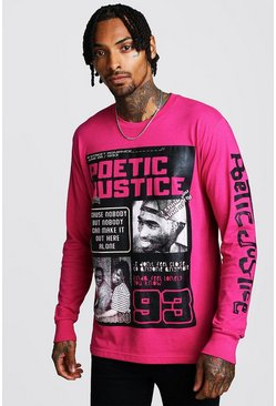 Pink Long Sleeve Poetic Justice Tupac License T-Shirt