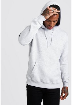 Grey marl Basic hoodie i fleece