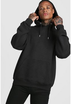 Black Basic Oversized Over The Head Fleece Hoodie