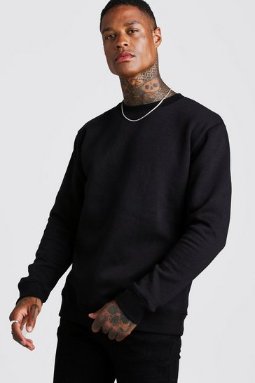 Black Basic Crew Neck Fleece Sweatshirt