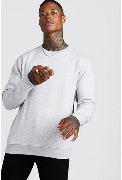 Grey marl Basic sweatshirt i fleece med rund hals