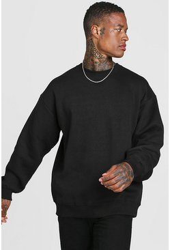 Mens Black Basic Oversized Crew Neck Sweatshirt