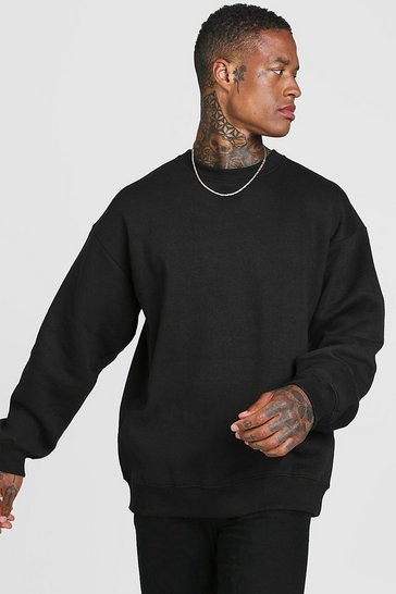 Black Basic Oversized Crew Neck Sweatshirt