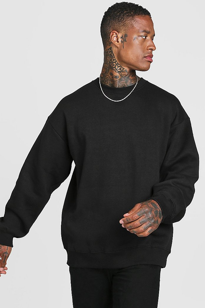 Basic Oversized Crew Neck Sweatshirt | boohooMAN