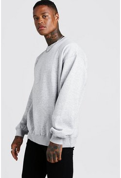 Sweat ras du cou oversize basique, Gris chiné