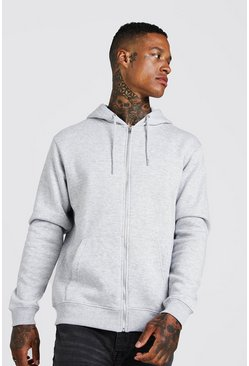 Grey marl Basic hoodie i fleece med dragkedja