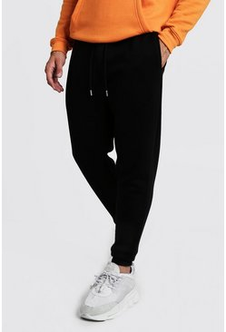Black Basic skinny joggers i fleece