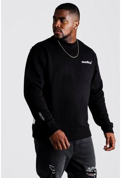 Mens Black Big and Tall MAN Official Sweater with Raw Seam