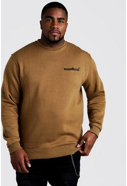 Mens Brown Big and Tall MAN Official Sweater with Raw Seam