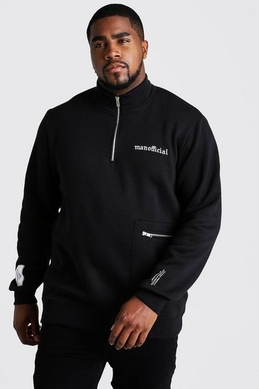 Mens Black Big and Tall Funnel Neck Sweater with Pocket Detail