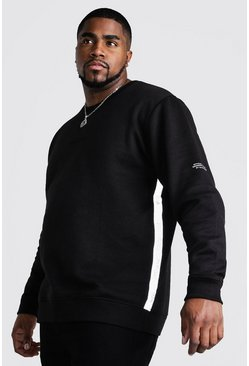 Mens Black Big & Tall Reflective Tape Sweater