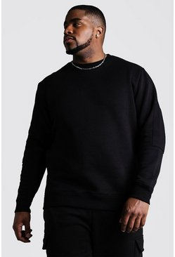 Herr Black Big & Tall Biker Detail Sweater