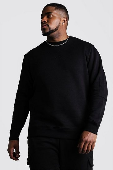 Mens Black Big & Tall Biker Detail Sweater