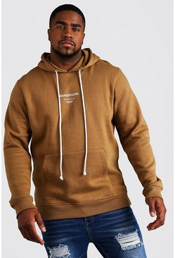 Mens Brown Big & Tall MAN Official Hoodie With Drawcord