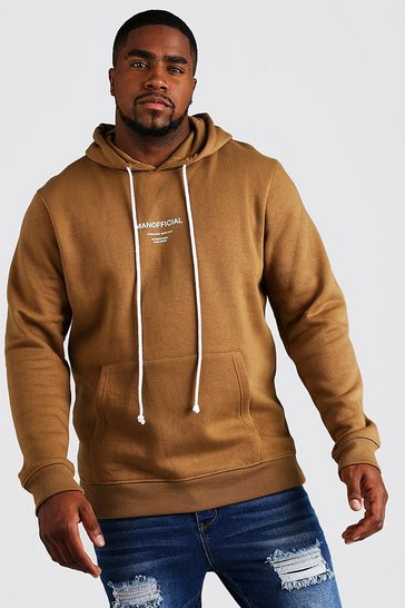 Brown Big & Tall MAN Official Hoodie With Drawcord