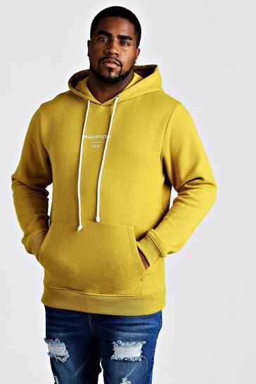 Mens Mustard Big & Tall MAN Official Hoodie With Drawcord