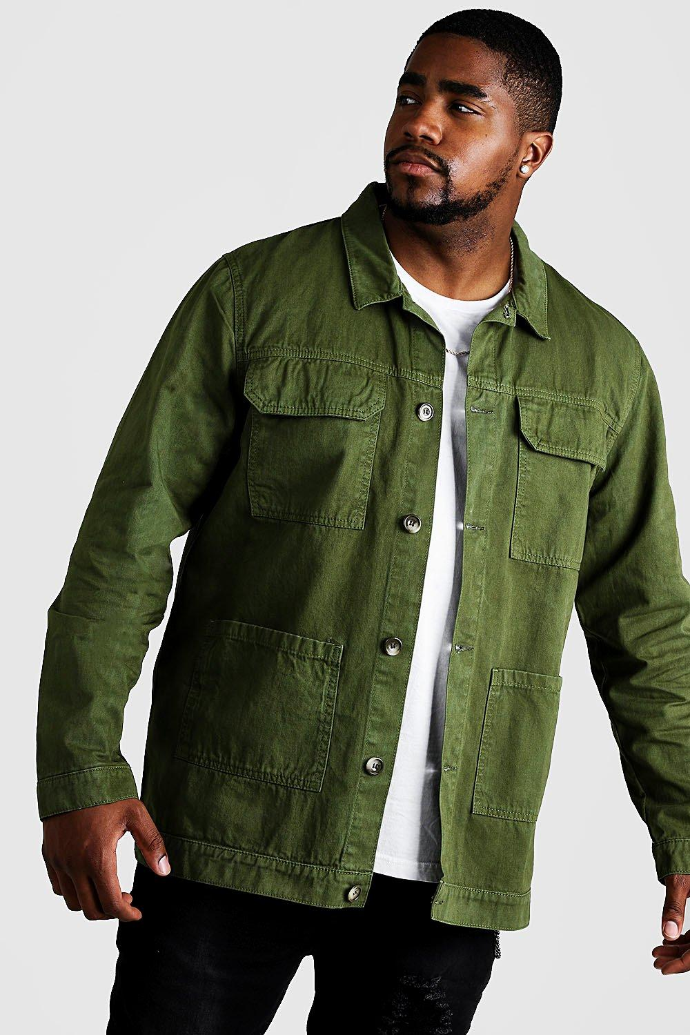 Men's Vintage Workwear – 1920s, 1930s, 1940s, 1950s Mens Big  Tall Cotton Twill Utility Overshirt - Green $24.00 AT vintagedancer.com